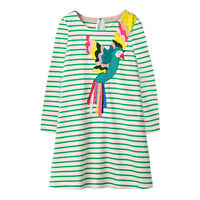 Toddler Kids Girls Striped Bird Long Sleeve Party Casual Tunic Dress Clothes Top