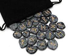 Snowflake Obsidian Elder Futhark Gemstone Rune Set