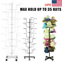 7Tier Hat Display Retail Hat Rack Rotating Spinner Stand Adjustable 35 Hat Iron