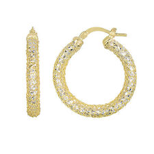 Mesh Wrapped Round Hoop Earring 14K Yellow White Gold Diamond Cut
