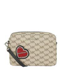Michael Kors Patches Signature Logo Medium Camera Bag Crossbody (Natural/Black)
