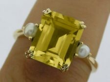 R241 Genuine 9ct Gold Natural Emerald-cut Citrine & Pearl Solitaire Ring size 7