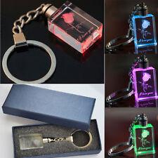 LED-Kristall Schlüsselanhänger Rechteck mit 3D Gravur (Ich liebe Dich) Mit Box