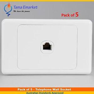 5 X Single RJ11 Telephone Wall Socket Outlet