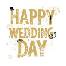 Happy Wedding Day Gold Glitter Greeting Card Blank Greetings Cards