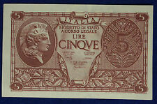 Vittorio Emanuele III° 5 Lire Atena Elmata 23.11.1944  Bolaffi/Cavallaro #BI193