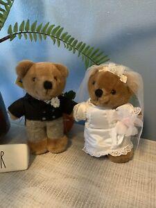 "Dakin 1985 VINTAGE BRIDE & GROOM TEDDY BEARS 7"" Plush Stuffed Animal Collectable"
