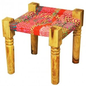 Indian Inspired Tribal Solid Wood  Manjhi Woven Charpoy Ottoman Stool Multicolor