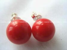 charming! 10mm red coral round and silver plated stud earrings