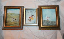Collection of 3 -Small Child Miniature Paintings Swing, Birds, Jump Rope -Framed