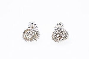 Tiffany & Co 9mm Rope Love Knot Studs 925 Sterling Silver Pair of Earrings