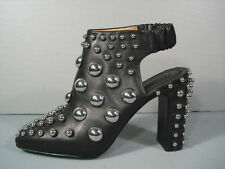 Alexander Wang Ellery black leather silver studs ankle booties open back 40 NEW