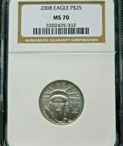 2008 $25 Platinum Eagle 1/4 oz. .9995  NGC MS-70 Perfect