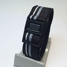 Nylon Sport Watch Band~Insert Plastic Clasp~Water Resistant~20mm Wide~21cm Long