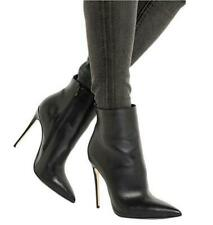 Womens High Heel Ankle Boots Stilettos Pointy Toe Party PU Leather Shoes Plus Sz