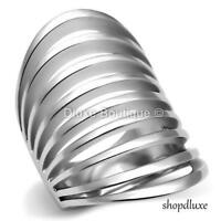 WOMEN'S SILVER STAINLESS STEEL WIDE BAND DOME FASHION RING SIZE 5-10