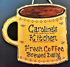 COFFEE CUP Personalize KITCHEN SIGN Coffee Brewed Daily Wall Art Plaque Name
