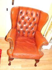Chesterfield Sessel/Stuhl Ohrensessel Leder Englischer Stil Chair Armchair