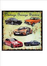 BMW vintage riproduzione in metallo Insegna Cartello Garage Garage Services Cartello in metallo muro