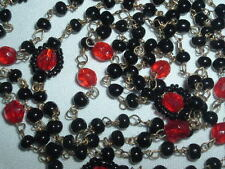 VINTAGE BLACK & RED GLASS BEAD GOLD TONE LINK NECKLACE 48""