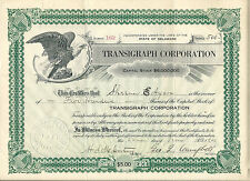 Pennsylvania 1921, Transigraph Corporation Stock Certificate Fernwood