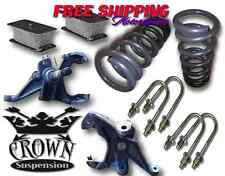 "Crown Suspension 82-04 S10 V6 3""-4"" Lowering Drop Spindles Coils Steel Block Kit"