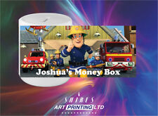 Fireman Sam Personalised Ceramic Money Box, Unique Gift, Childrens Savings,