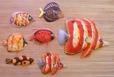 "LARGE HAND PAINTED SET OF 7 FISH METAL ART WALL HANGINGS LARGE FISH IS 12"" WIDE"
