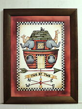 NOAH'S ARK PICTURE TWO BY TWO RELIGIOUS FRAMED 12X16