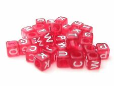 50 x 6mm Red Cube Alphabet Letter Beads Mix Craft Beading Jewellery  H30