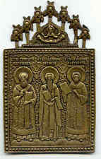 Vecchia grande icona Bronzo 3 Santa con angelo