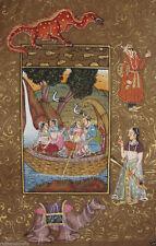 Royal Rajput King Indian Miniature Painting court stamp antique art Vintage