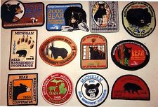 MICHIGAN DNR BEAR HUNTER PATCHES (1986-2004) (12 DIFF PATCHES) - DEER-TURKEY-ELK