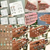 24/12Pairs Creative Rhinestone Crystal Pearl Earrings Set Women Ear Stud Jewelry