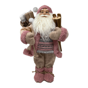 45cm Pink Standing Santa Father Christmas Xmas Festive Decoration Ornament