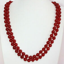10mm red jade gemstone round beads long chain elegant women necklace 48''