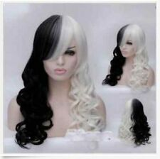 Fashion Women Cruella Deville Cosplay Wig Black White Synthetic Long Curly Wigs