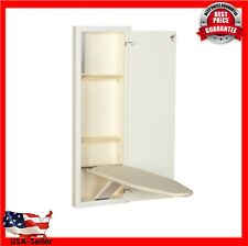 Wall Ironing Board Cabinet Stow Away Built In Shelf Fold Out Wood Folding White