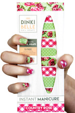 DinkiBelle COUNTRY ROSE Nail Wrap 14 Days Self Adhesive Sticker Polish Decal Art