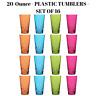 Set Of 16 Plastic Beverage Tumblers In 4 Assorted Colors 20 Oz Dishwasher Safe