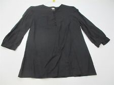 GENERRA Women's Size S Classic Light Weight Cotton Loose Black Blouse #TY3120