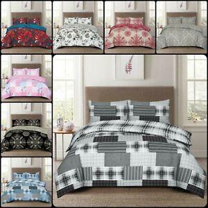 4PCS Luxury Cotton Rich Bedding Set Quilt / Duvet Cover Fitted Sheet Pillowcases