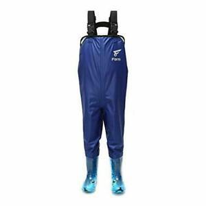 8 Fans Kid's Blue Nylon Chest Waders Waterproof Boot Foot Lightweight Size 12/13