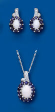 Sapphire and Opal Pendant and Earrings Set With Diamond Solid Sterling Silver