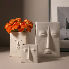 Creative Design Face Vase Planter Nordic Ceramic 3D Sculpture Flower Decoration