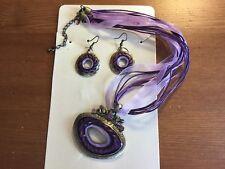 1 Oval Purple Crystal & Enamel Necklace/Ribbon & Cord & Bronze Earring Set
