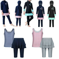 Kids 2Pcs Swimwear Muslim Girls Burkini Modest Swimsuit Tops+Pants Set Beachwear