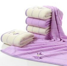 Face Purple Lavender Design Towel Set Bathroom Cotton Soft Material Absorbent