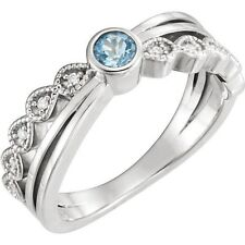Genuine Aquamarine Round Gem Bezel Set & .05 ctw Diamonds in 14K White Gold Ring