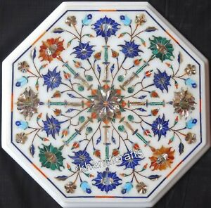 14 Inches Marble Coffee Table Top Inlay Tea Table with Multicolor Gemstones work